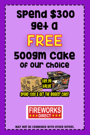 Free Fireworks with $300
